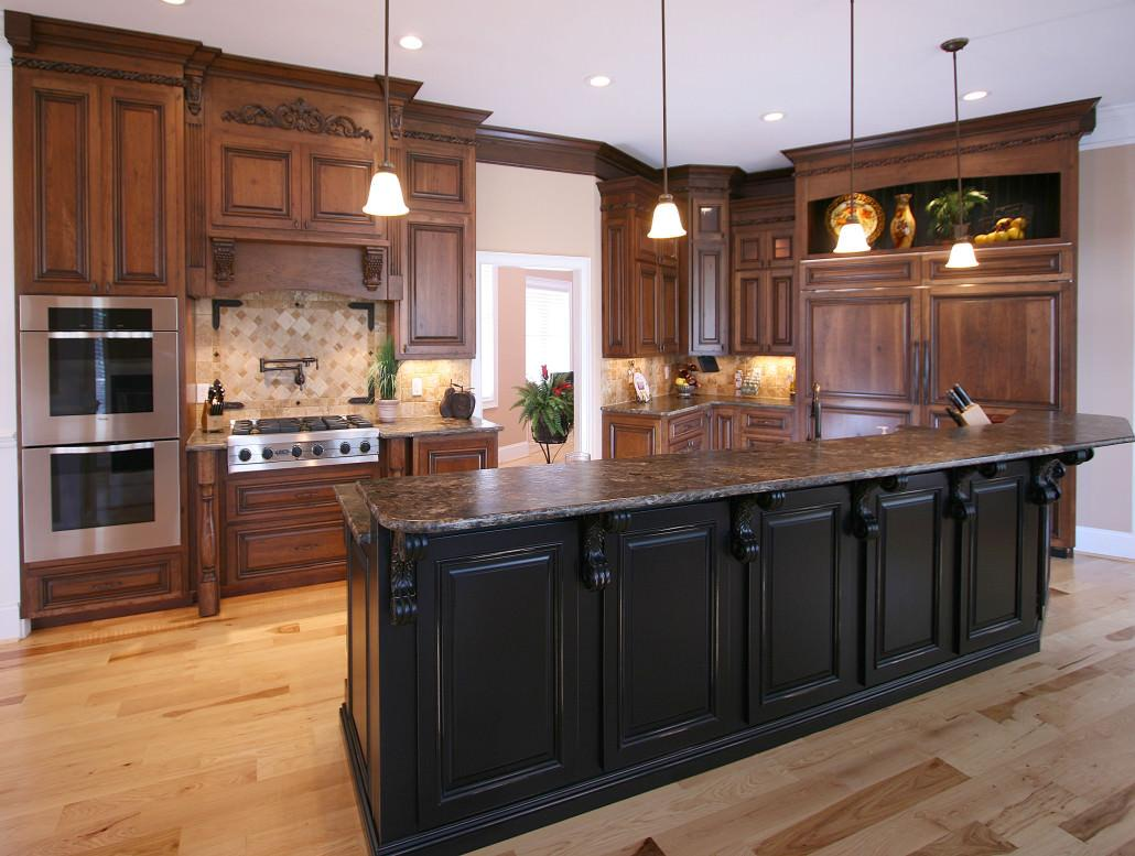 kitchen,island,two toned cabinets,corbels,paneled appliance,traditional,ideas