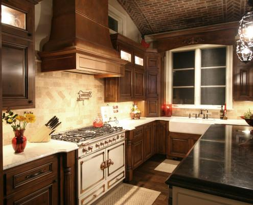 window cornice,faux copper hood,pot filler,kitchen,tile back splash