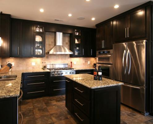 stainless steel appliances,granite countertops,contemporary kitchen,ideas