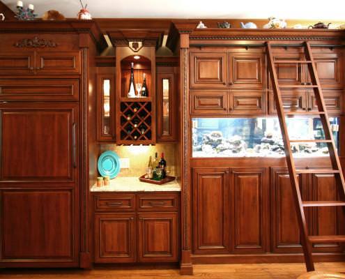 custom built,aquarium,wine rack,cherry wood,rolling ladder,mini bar