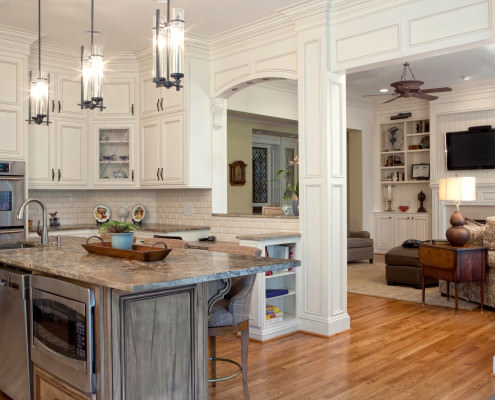 Classic Home, Classic style cabinets, wormy maple,island,open kitchen ideas,wrapped columns,kitchen,display shelves,large floor plan