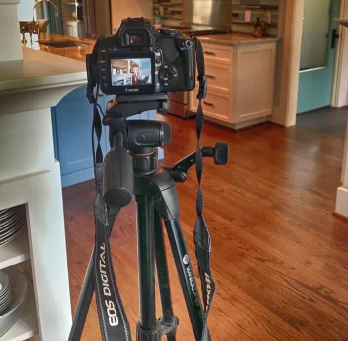 photo of camera on a tripod at photo shoot
