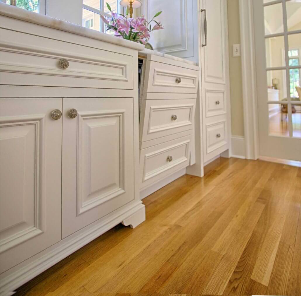 Kitchens With White Appliances And Oak Cabinets: Bright White Cabinets - Transitional Style
